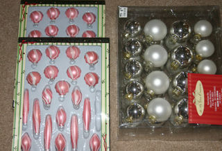 Pink ornaments boxed