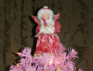 Pink Christmas tree angel