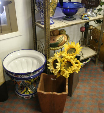 Blue flower pot and bowl