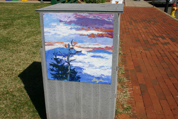 Handpainted trash can my town