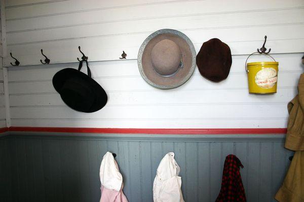 School house coat hangers etc.