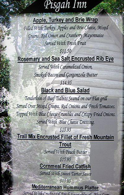 Blue Ridge Pisgah Inn menu