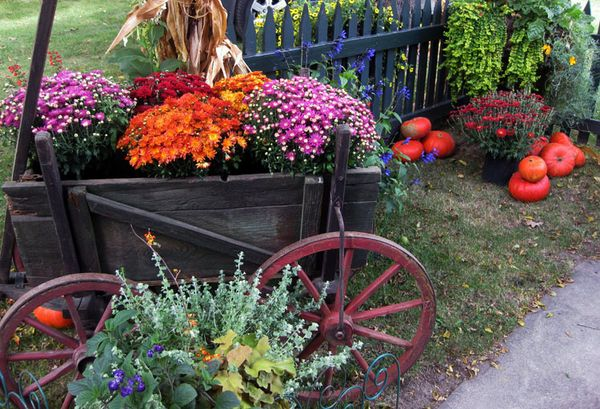 MI cart and flowers
