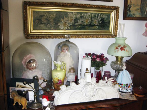 Aunt Shirley's dolls under glass