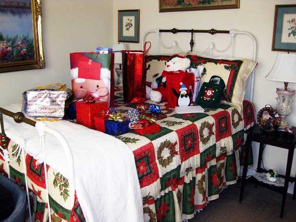 Blue Christmas pkgs in guest bedroom