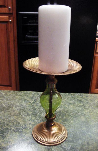 Candleholder green glass