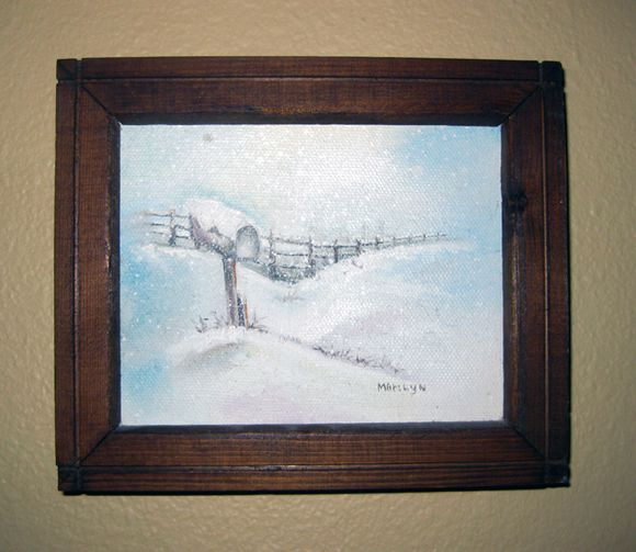 Blue snow painting
