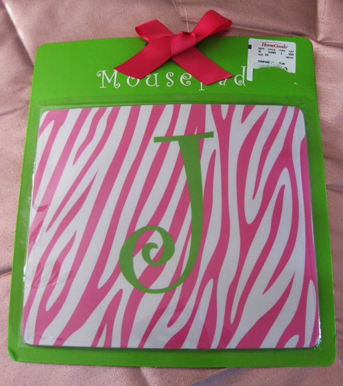 Pink mouse initial J