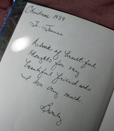 Gift book from Beverly signed
