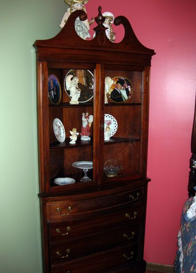 Bedroom makeover corner cabinet
