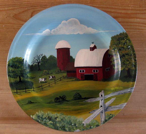 Handpainted vintage tin plate