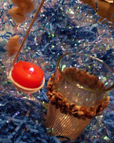 Shell blue tea light holder