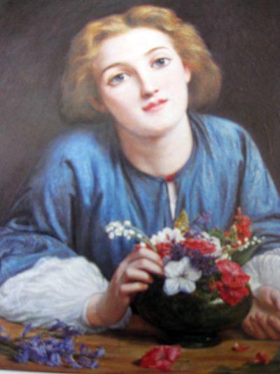 Blue lady w flowers