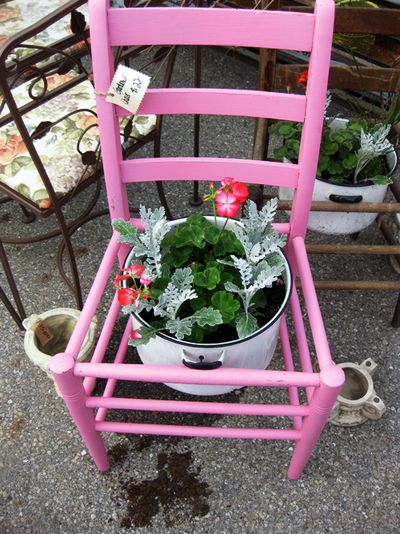 Pink chair w plant ps21