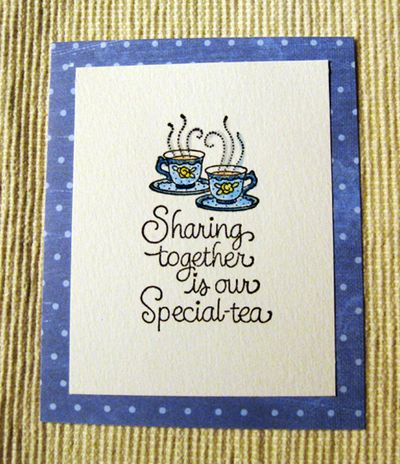 Blue tea sharing message