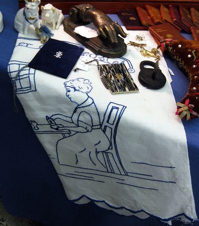 Blue needlework