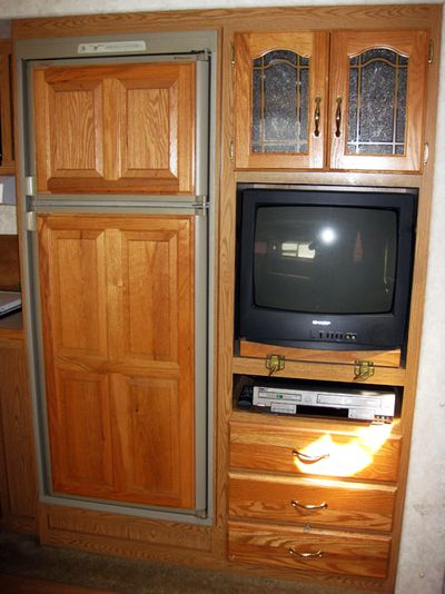 Trip  RV dish cupboard TV and VCR