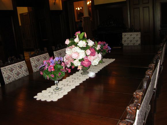 Pink Sat Boldt's castle dining table