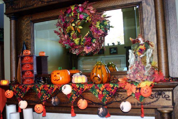 Fall fireplace closeup