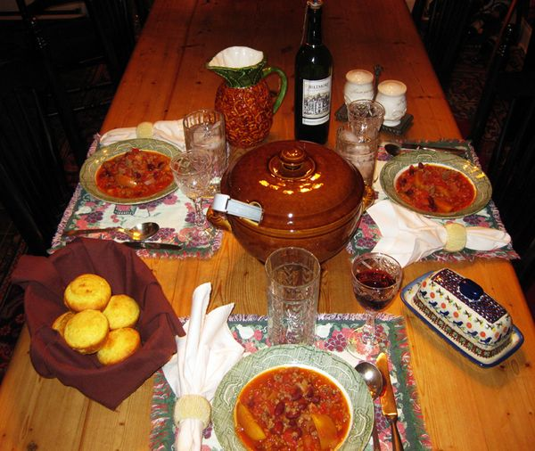 Food table set for three