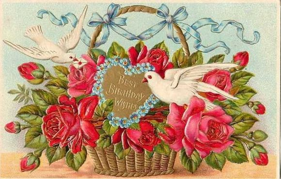 Vintage-birthday-card-two-doves-red-roses-blue-ribbons-basket