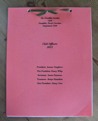 Garden Club membership book