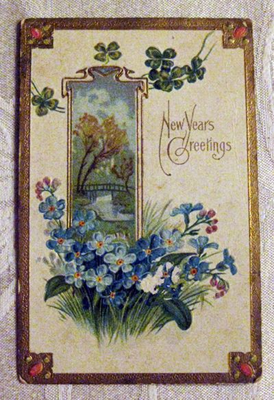 Blue New Years card