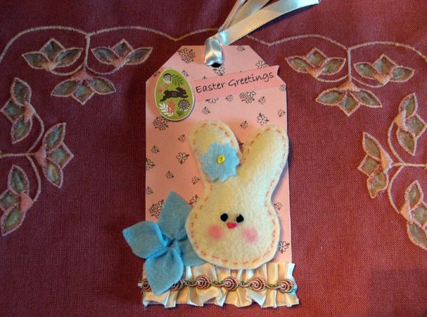 Easter tag with stuffed bunny