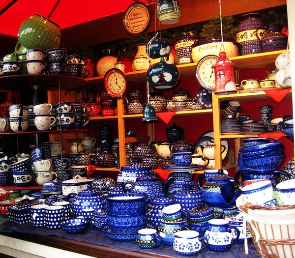 Christmas Markets blue pottery