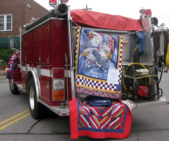 Airing of the quilts fire truck
