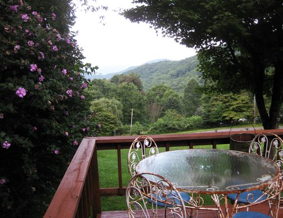 Deck view of mountains
