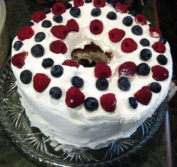 80 birthday angelfood cake
