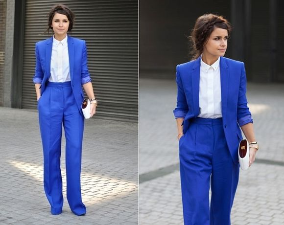Miroslava-duma-street-style-london-fall-2013-winter-2014-fashion-week-blue-suit-fashion