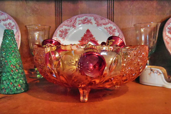 Christmas PS pressed glass pink bowl