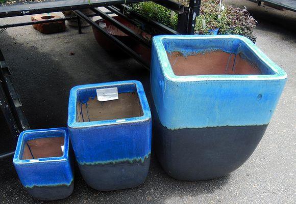 Blue plant pots