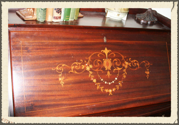 Antique desk inlaid