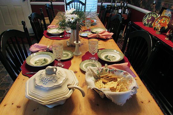 Homemade soup table setting 1