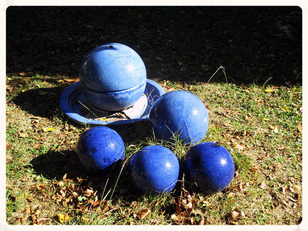 Abbey garden gazing balls